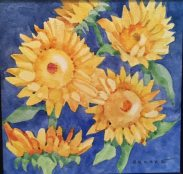 Sunflowers, watercolor by Anne Brooke