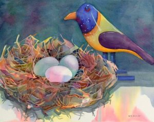 """Wooden Bird,"" watercolor by Anne Brooke, founder of Art Presence Art Center"