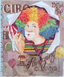 Gallerie Carnevale : Make-Up, watercolor painting of a clown puttingon makeup by Anne Brooke