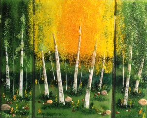 Birches Tryptich, glass art by Jessy Carrara