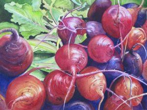New Beginnings: Brazen Beets, watercolor by Linda Abblett
