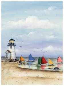 Summer At Last July 2017 member show : Rainbow Fleet on Nantucket Island by Katharine Gracey