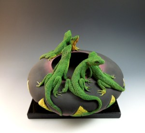 Five Lizard Bowl by Nancy Yturriaga Adams,side view