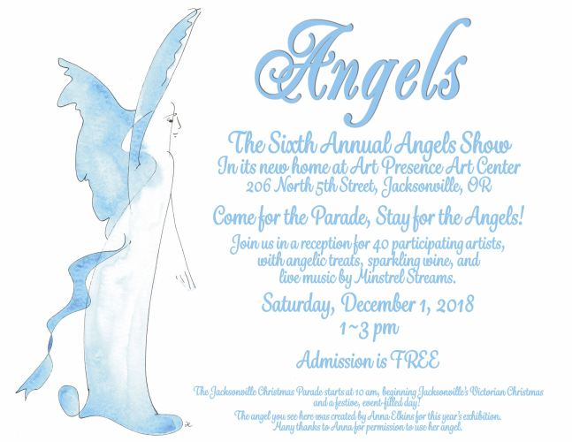 Angels show 2018: 2018 Angels Show: 6th annual angels show : poster with information about the 2018 6th annual angels show at art presence art center