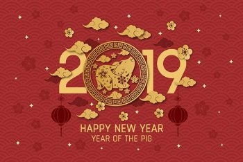 2019 year of the pig, designed by freepik