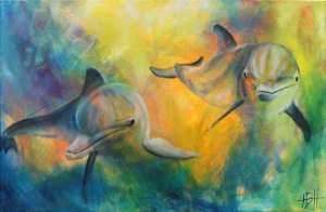 Se på kunst i galleri i Hillerød - maleri af delfiner i mange farver