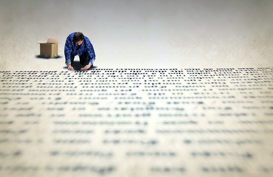 Artist Statement man on knees writing on large paper