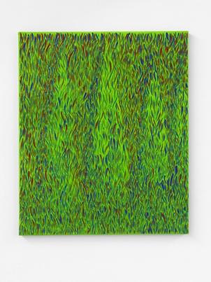 Quatre Cyprès, Acrylique sur toile, 54x46 cm Photo André Morin, Courtesy Hugo Pernet