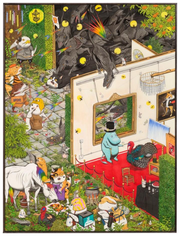 Hun Kyu Kim, 'Regular Ordinary Artist Residency', 2018, Traditional oriental pigment on silk, 120 x 90cm