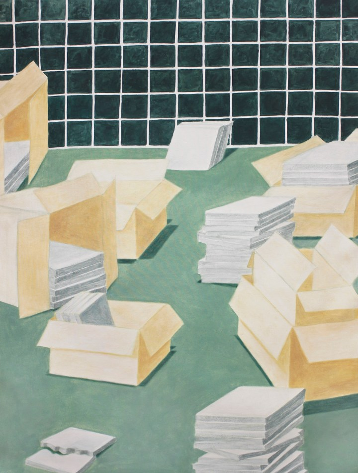 Antonia Rodrian, Tiles and Boxes, 2019, 120 x 90 cm, oil on canvas