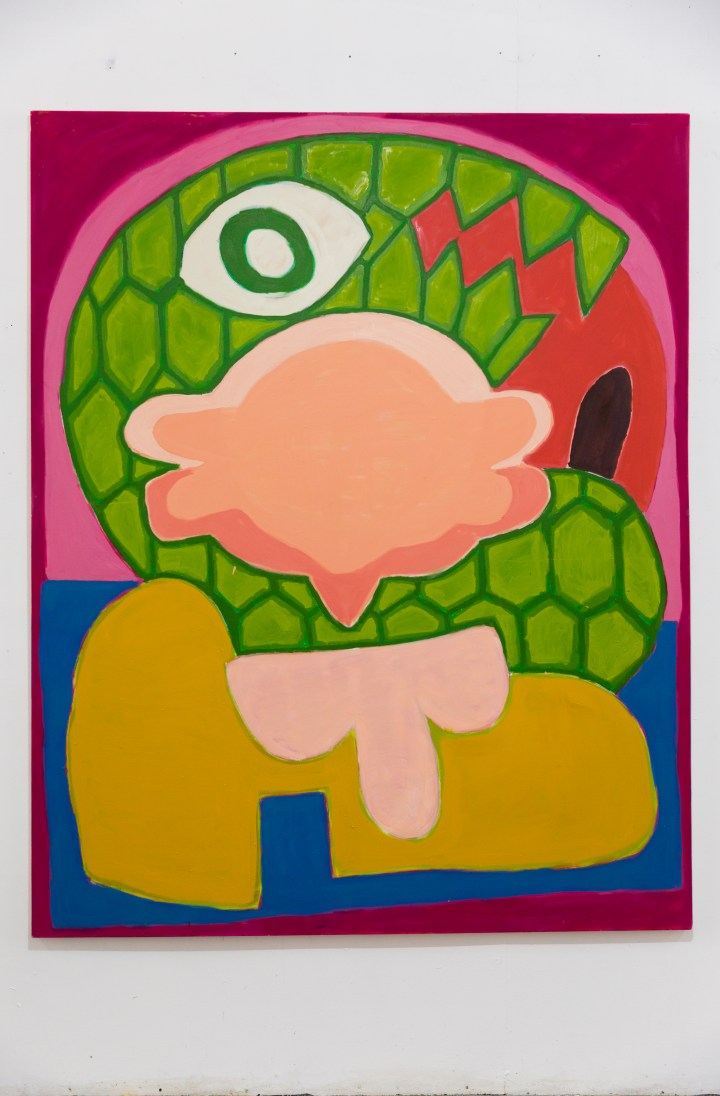 Aristeidis Lappas, Wrapped by Snakes, 2019, Oil,Acrylic and Spray on Canvas, 200 x 160 cm