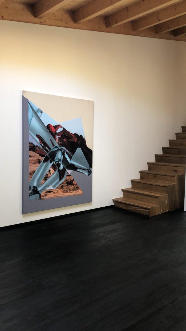 Manuel Resch & Maximilian Maria Willeit Untitled, 2019, 50 x 200 cm, printed fabric, spray paint on canvas
