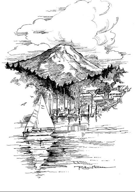Gig Harbor With Mt Rainier By Patricia Lee Christensen