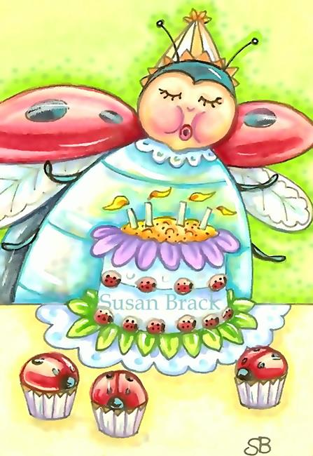 Birthday Wishes And Ladybug Cupcakes By Susan Brack From All Art Galleries Search Results For Birthday