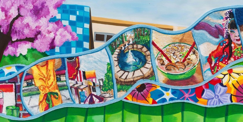 This is one of eight art panels created by artist Nzuji De Magalhães for Expo/Bundy Station