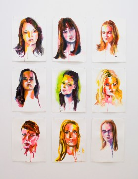 "Randy Moore, ""Smokers (set 1),"" 2007, Watercolor on paper"