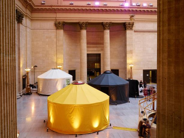 Art Yurts in Chicago's Union Station. Photo: Brian Doyle courtesy of 303 Gallery, New York.