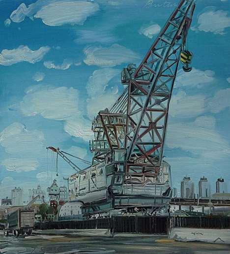 """Crane,"" oil on panel, 2013"