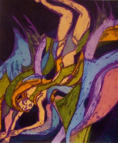 """""""Diver (purple line),"""" monoprint etching, 2008–11"""