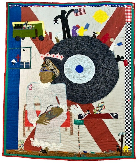 "Yvonne Wells, ""Rosa Parks I,"" cotton, polyester and plastic buttons, 2005"