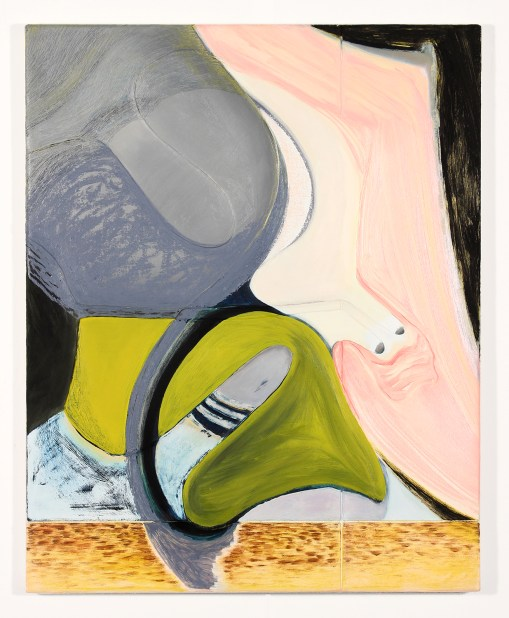 """Magalie Guérin. """"Untitled (hat-profile), 2013-14, oil on canvas"""