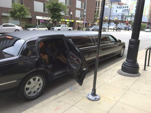 """Chicago artist Heather Mekkelson in one of the stretch limousines used for Erik Peterson's """"Stretch limo (94)"""""""