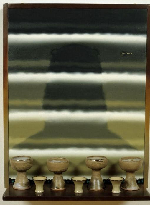"""Roger Brown. """"VSL #16: Saki Cups and Four Big Sur Communion Chalices with Oral Robert's Vision of a Two Mile High Jesus,"""" 1996, oil on canvas, mixed media"""