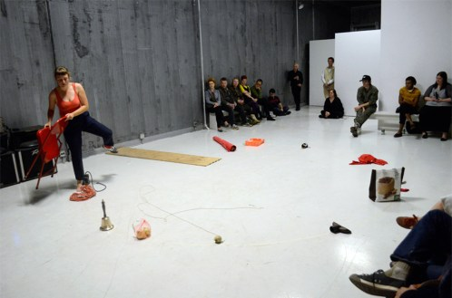 """Ieke Trink performing """"The Order of Things"""" last year at Defibrillator Gallery. Photo by Isabelle McGuire."""