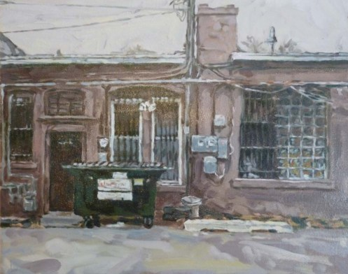 """Ted Leeming. """"Alley Scene (Untitled),"""" oil on canvas board, 16""""x20"""""""