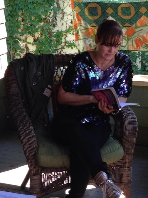 """Lise Haller Baggesen reading from Mothernism at Terrain Exhibitions in Oak Park as part of """"Queen Bee,"""" organized by Allison Glenn"""