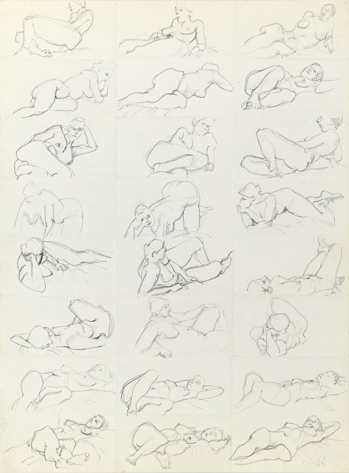 "Jack Tworkov. ""One-Minute Drawings of a Model,"" 1963, graphite on paper"