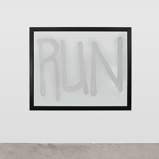 "Rashid Johnson. ""Run,"" 2008,  mirror with spray paint"