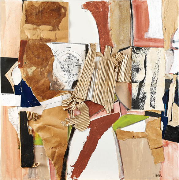 "Ben Herr. ""Transformation Ritual,"" 2006, oil and collage on canvas, 31 3/4"" x 32"""