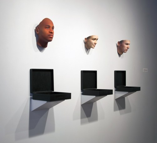 """Heather Dewey-Hagborg. Installation view of """"Stranger Visions,"""" 2012-2013 found genetic material, custom software, 3D print, documentation"""