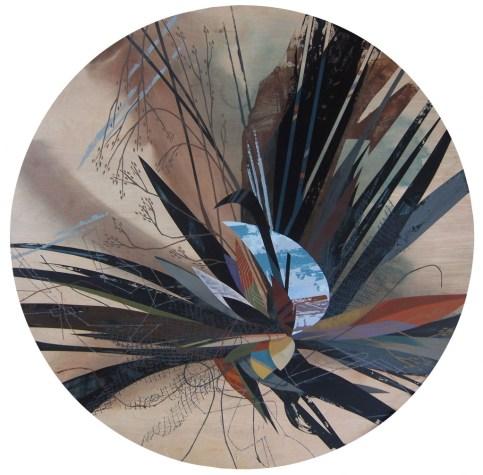 "Robert Porazinski. ""Accumulation III"", 2014 acrylic on birch table top, 48"" x 48"" x 1"""