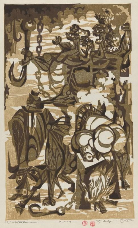 "Eldzier Cortor. ""L'Abbatoire,"" 1950s, woodblock print"