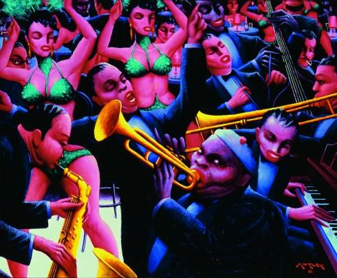 """Archibald J. Motley Jr. """"Hot Rhythm,"""" 1961 oil on canvas, 40"""" x 48.375"""""""