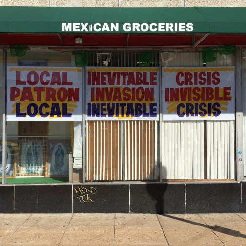"Alberto Aguilar. ""Propaganda Familiar,"" 2015 industrial poster paint on butcher paper, installed at El Torito Supermercado in St. Louis"