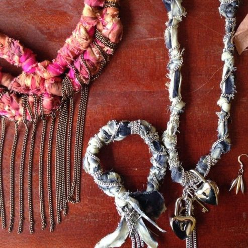 Several of the jewelry designs produced by Lagi Nadeau and the Maisha Collective for Heshima Kenya