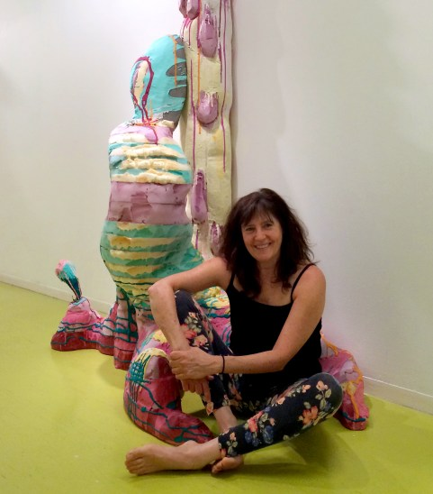 "Nancy Lu Rosenheim in her installation ""Swallow City"" at the Hyde Park Art Center. Photo by Paul R. Solomon"