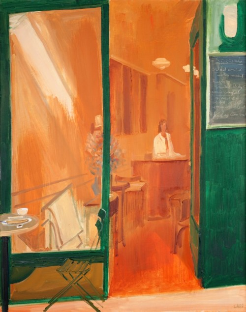 "Maurice Lapp. ""South Park Cafe"" c. 1988. Oil on canvas, 24 x 31 inches."