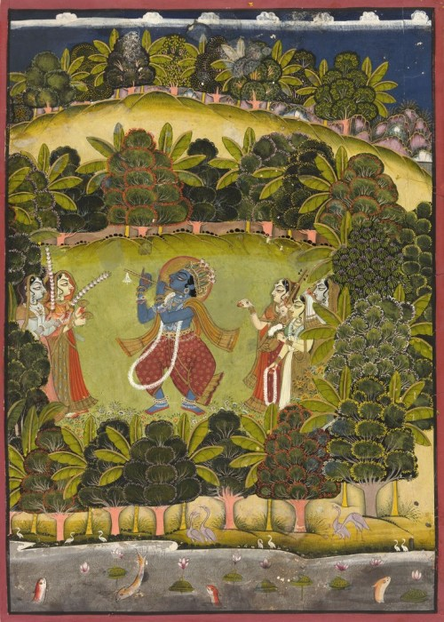 """Krishna Fluting for the Gopis,"" Late 18th or early 19th century. Jodhpur, Rajasthan, India?."