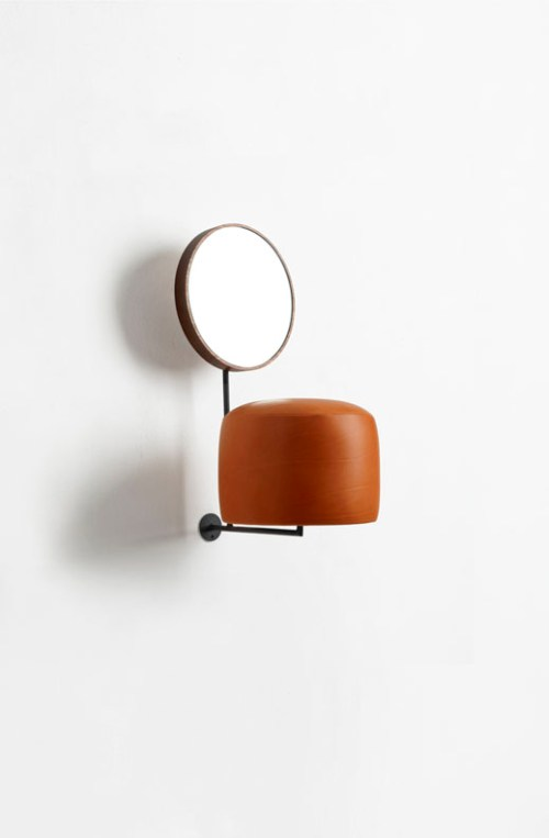 "Thomas Grunfled. ""HdL (orange),"" 2014. Iron, wood, mirror and leather. 21 1/2 x 9 3/4 x 14 inches."