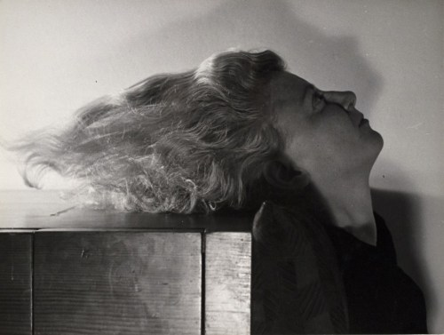 "Václav Zykmund. ""Untitled, Woman with dangling hair,"" probably 1944. Gelatin silver print, vintage impression. Smart Museum of Art, The University of Chicago."