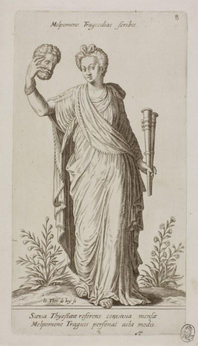 "Johann Theodor de Bry. ""Melpomene, Muse of Tragedy, plate 8 from Parnassus Biceps,"" 1601."