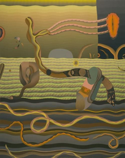"""Evelyn Statsinger. """"Passing Creatures Near Movable Shores,"""" 1978. Oil on linen, 47 7/8 x 38 inches, collection of Pennsylvania Academy of Fine Arts, Philadelphia, PA."""