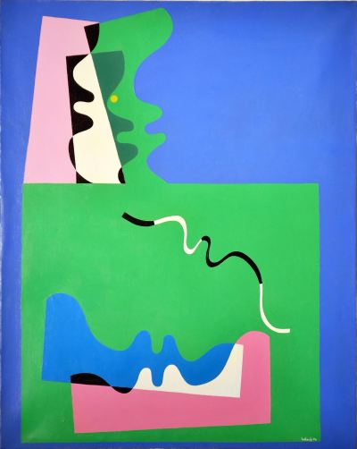 """Claude Belleudy (French, b. 1938) Untitled acrylic and collage on canvas, 1970 31 3/4 x 25 1/2 inches signed and dated at lower right; signed and annotated """"Vence"""" verso"""