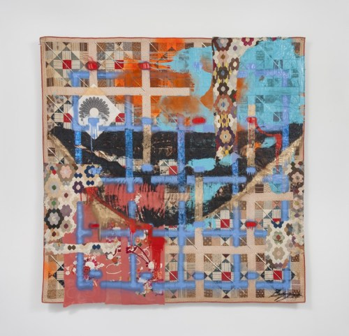 """Sanford Biggers. """"Hat & Beard,"""" 2016. Glitter, tar, acrylic, oil stick, spray paint, assorted textiles, and screen printed fabric on antique quilts, 79 x 79 inches."""