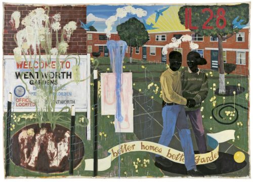 Kerry James Marshall, Better Homes, Better Gardens, 1994. Denver Art Museum Collection: Funds from Polly and Mark Addison, the Alliance for Contemporary Art, Caroline Morgan, and Colorado Contemporary Collectors: Suzanne Farver, Linda and Ken Heller, Jan and Frederick Mayer, Beverly and Bernard Rosen, Annalee and Wagner Schorr, and anonymous donors. © Kerry James Marshall. Photo courtesy of the Denver Art Museum.