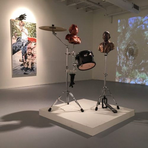 "Rodrigo Lara Zendejas. Installation view of ""La Paz"" at the Hyde Park Art Center, Spring 2016"